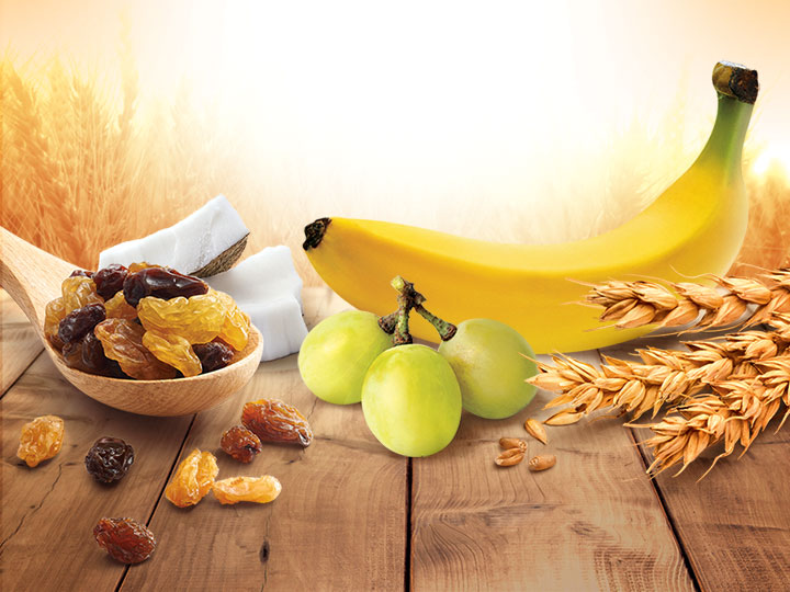 An assortment of grains and fruits for a healthy lifestyle