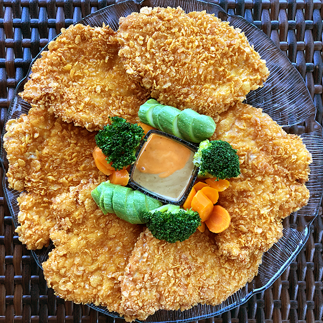 Oven Fried Chicken with Cornflakes & Sautéed Vegetables